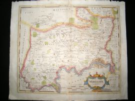 Robert Morden C1695 Antique Map. Middlesex, London, UK. Hand Coloured